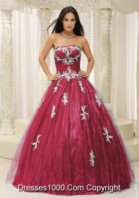 Discount Princess Strapless Paillette Dresses 15 with Appliques