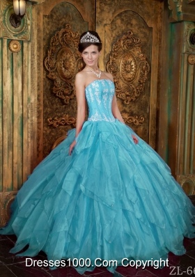 Gorgeous Ball Gown Strapless Appliques Organza New Style Aqua Blue Quinceanera Dress