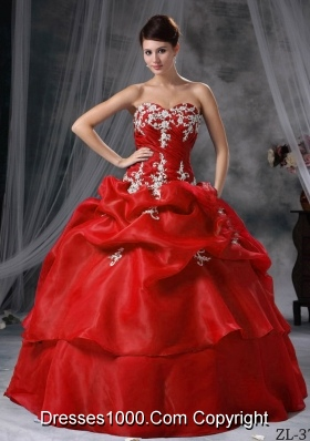 Puffy Sweetheart Organza Appliques Wine Red Dress For Quinceaneras