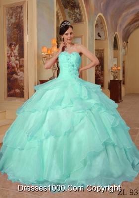 Puffy Sweetheart Pretty Aqua Blue Quinceanera Dress with Organza Beading