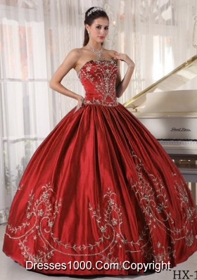 Puffy Wine Red Strapless Satin Embroidery Dresses For 2014