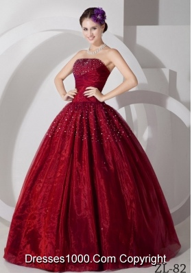 Wine Red Organza Tulle Beading Dress For 2014 Quinceanera