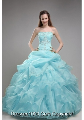 2014 Beautiful Baby Blue Ball Gown Strapless Beading  Quinceanera Dress with Ruffles