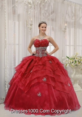 Appliques Strapless Organza Beading and Layers Wine Red Dresses Of 15