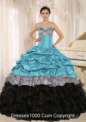 Aqua and Black Sweetheart Ruffles Quinceanera Dress With Floor-length