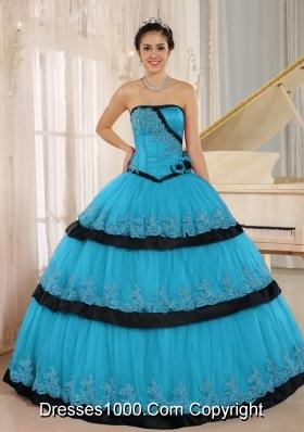 Aqua Blue Hand Made Flowers Custom Made For 2014 Quinceanera Dress