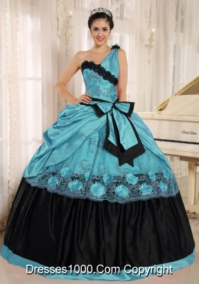 Aqua Blue One Shoulder For 2013 Quinceanera Dress With Bowknot and Appliques