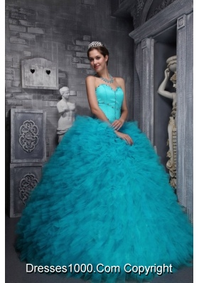 Aqua Blue Quinceanera Dress Exclusive Sweetheart Taffeta  Organza Beading
