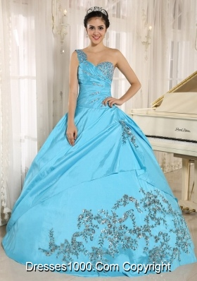 Aqua Blue Quinceanera Dress One Shoulder With Appliques and Beading 2014