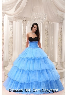Pretty Sweetheart Beaded and Layers Ball Gown Quinceanera Dresses in Aqua Blue