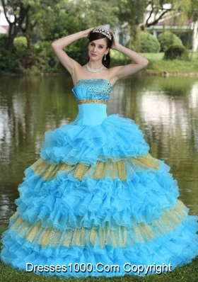 Beaded Decorate Bust Sequins Quinceanera Dress  with Organza Multi-color Strapless Tiered Sweet
