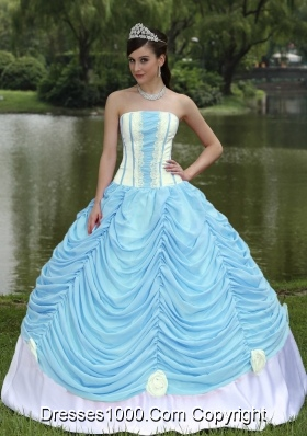 Custom Made Quinceanera Dress With Strapless Ball Gown Baby Blue and Pick-ups