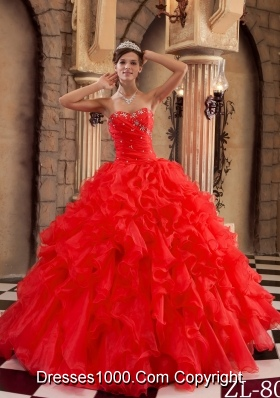 Hot Sale Red Sweetheart Ruffles Organza Quinceanera Dress