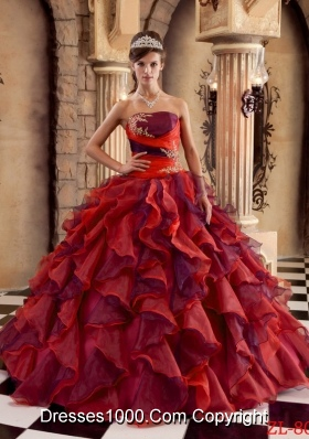 Multi-color Strapless Organza Ruffles Quinces Dresses with Appliques