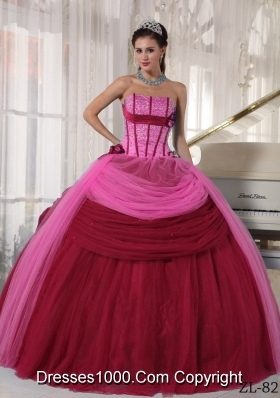Puffy Strapless Beading Wine Red and Pink Dresses For a Quince