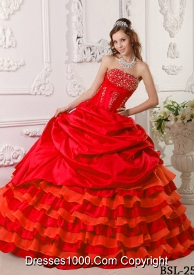 Red Puffy Strapless Taffeta Beading and Layers Sweet 16 Dresses