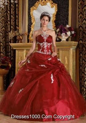 Wine Red Organza Appliques Quinceanera Gowns Dresses On Sale