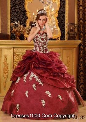Wine Red Strapless Appliques Cheap Quinces Dresses On Sale