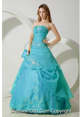 2014 Aqua Blue Ball Gown Strapless Embroidery Quinceanera Dress