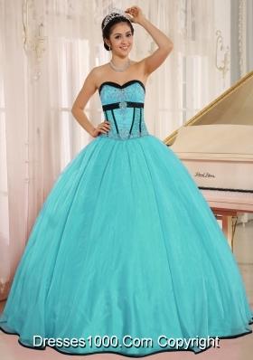 2014 Aqua Blue Sweetheart Perfect Qunceanera Dress With Beading