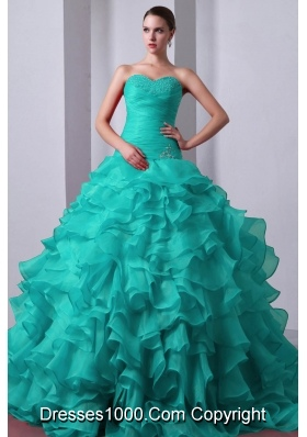 2014 Beading Quinceanea Dress in Blue Princess Sweetheart Brush Train with Ruffles