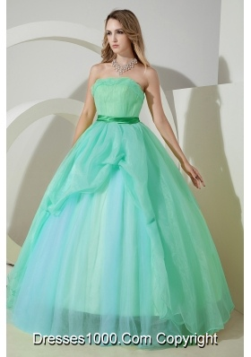 2014 Blue Princess Strapless Beading Quinceanera Dresses with Embroidery