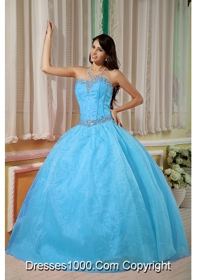 2014 Fashionable Blue Ball Gown Sweetheart Quinceanera Dress with Beading