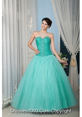 2014 Turquoise Princess Sweetheart Beading Quinceanera Dress
