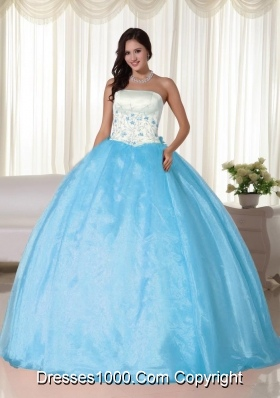 Aqua Blue Ball Gown Strapless Floor-length Quinceanera Dress with Organza