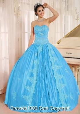 Aqua Blue Sweetheart Quinceanera Dress  Embroiery With Beading Decorate On Taffeta