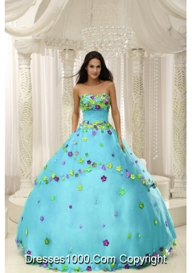 Baby Blue Ball Gown 2014 Quninceaera Gown For Custom Made Appliques Decorate Bodice