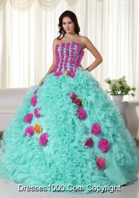 Baby Blue Ball Gown Strapless  Quinceanera Dress with  Organza Beading