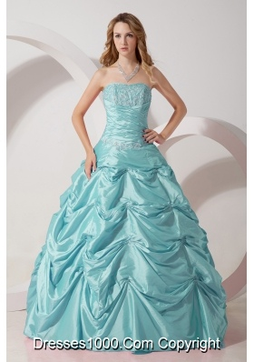 Baby Blue Princess Strapless Quinceanera Dresses with Taffeta Appliques