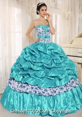 Beaded and Pick-ups For Aqua Blue Quinceanera Dress Taffeta and Printing