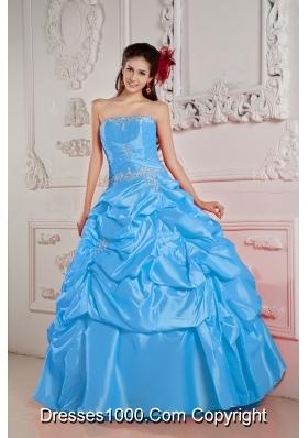 Blue Ball Gown Strapless Floor-length Taffeta Beading Quinceanera Dress
