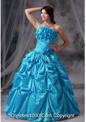 Hand Made Flowers Ruching Ball Gown in Aqua Blue Strapless Quinceanera Dresses