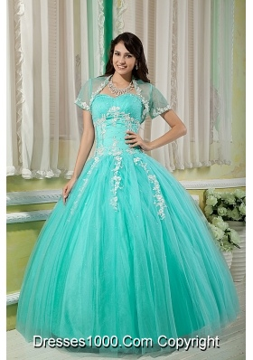 Turquoise Ball Gown Sweetheart Quinceanera Dress with  Tulle Appliques