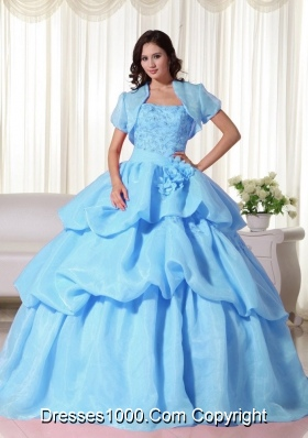 2014 Baby Blue Ball Gown Appliques Quinceanera Dress with Hand Made Flowers