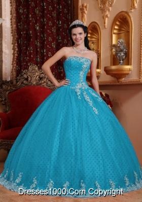 2014 Romantic Aqua Blue Ball Gown Strapless Lace Quinceanera Dress with Appliques