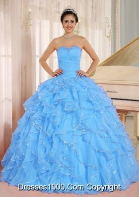 2014 Ruffles and Beaded For Aqua Blue Quinceanera Dress Custom Made
