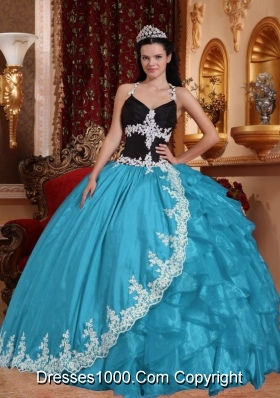 2014 Sweet Aqua Blue Ball Gown Lace V-neck Quinceanera Dress with Appliques