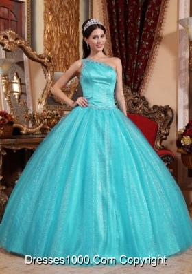 Aqua Blue  Ball Gown One Shoulder Quinceanera Dress Taffeta Beading
