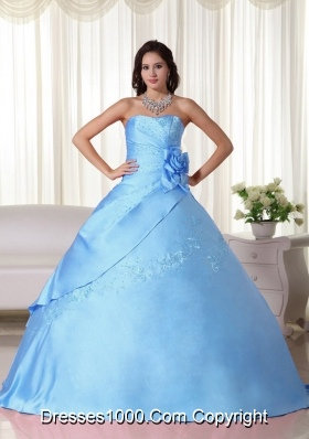 Aqua Blue Ball Gown Strapless Beading Quinceanera Dress with Hand Made Flower