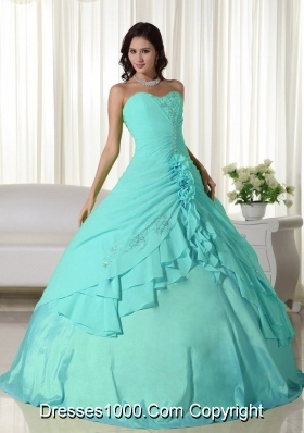Aqua Blue Ball Gown Sweetheart Quinceanera Dress with  Chiffon Beading