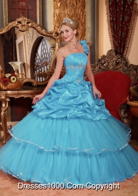 Aqua Blue Beading Ball Gown One Shoulder Quinceanera Dress with Beading and Pick-ups