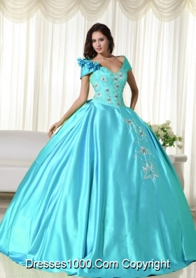 Baby Blue Ball Gown Off the Shoulder Quinceanera Dress with  Taffeta Embroidery