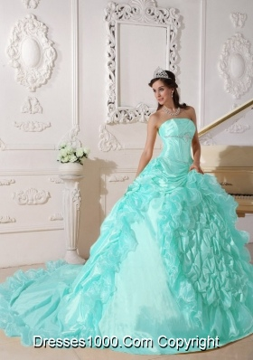Baby Blue Ball Gown Strapless Chapel Train Quinceanera Dress with Taffeta Beading