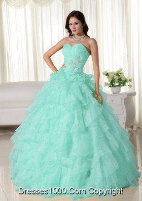 Baby Blue Ball Gown Sweetheart Neck Quinceanera Dress with  Organza Appliques