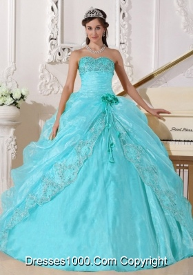 Ball Gown Strapless Floor-length Organza Embroidery Quinceanera Dress with Beading
