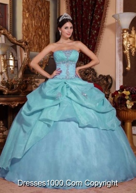 Light Blue Ball Gown Strapless Quinceanera Dress with  Organza Beading